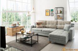 Sofa giường chữ L giải pháp cho phòng khách nhà ống