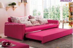 Sofa giường màu hồng cho phòng khách nhẹ nhàng nữ tính