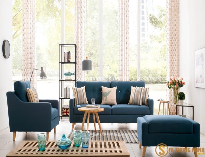 Sử dụng sofa giường màu xanh thoáng mát và hiện đại