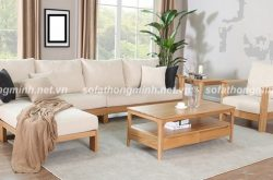 Sử dụng sofa gỗ cho phòng khách trong mùa hè thêm mát mẻ