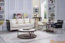 Sofa phòng khách đẹp kết hợp nội thất xám và trắng nổi bật ấn tượng